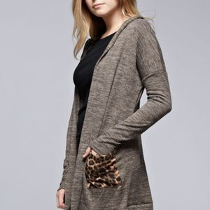 Sweaters - Leopard Pocket Cardigan